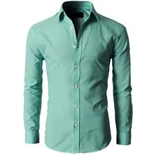Fashion Mens Luxury Stylish Casual Dress Slim Fit Casual Long Sleeve – Celadon CN M=US/UK XS
