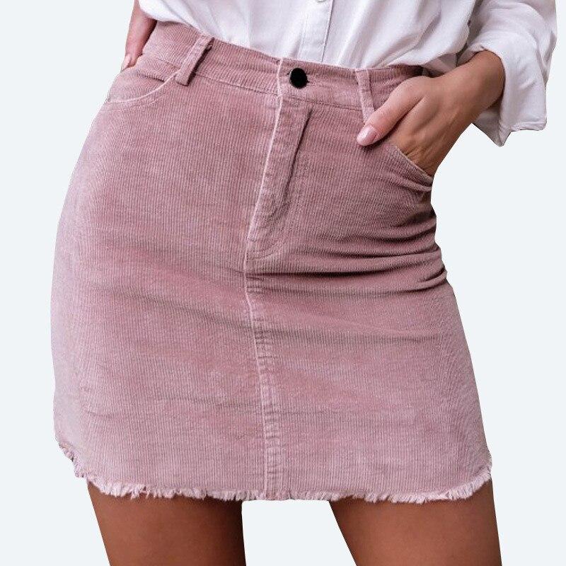 Vintage corduroy pink pencil skirt Fashion streetwear metal button zipper short skirt 2017 New autumn mini skirts womens FT417