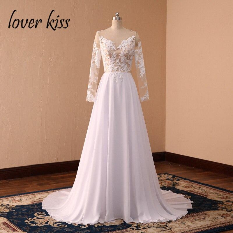 Amant baiser robe de mariee Sexy en mousseline de soie dentelle bohème robe de mariée à manches longues dos nu plage robes de mariée robe mariage été