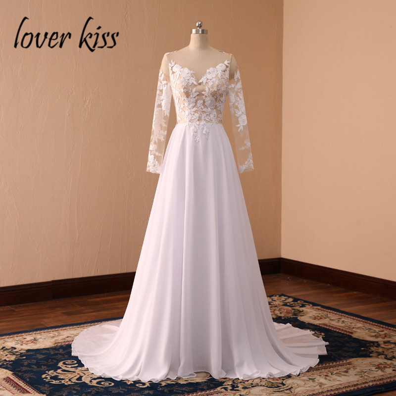 Lover Kiss robe de mariee Sexy Chiffon Lace Bohemian Wedding Gown Long Sleeve Backless Beach Wedding Dresses robe mariage Summer