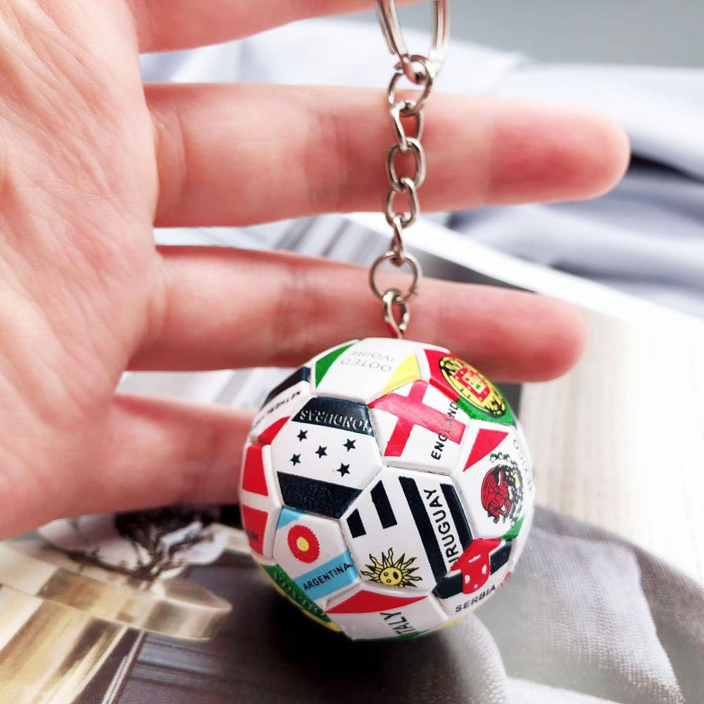 3D Sports Football 2019 Key Chains Souvenirs PU Leather Keyring for Men Soccer Fans Keychain Pendant Boyfriend Gifts in Key Chains from Jewelry Accessories