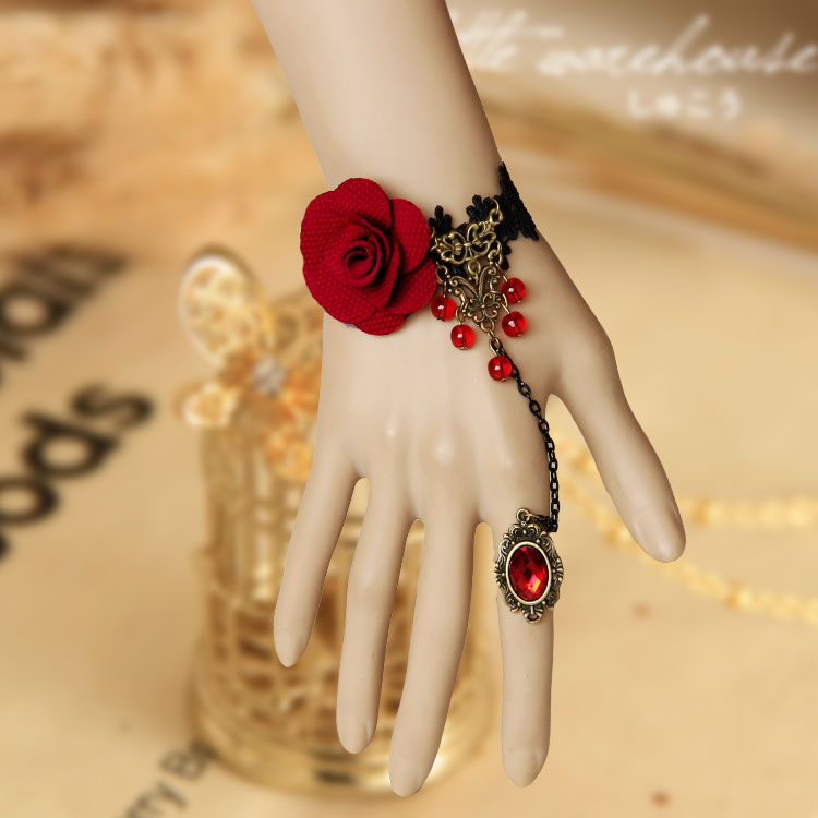 Ethnic Fashion Vintage Women Black Lace Red Rose Crystal Hand ...