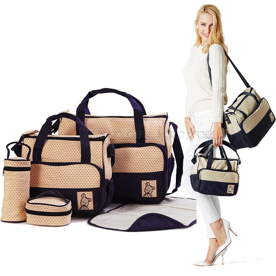 5 PCS/Set Fashion MultiColored Tote Nappy Bags baby diaper ...