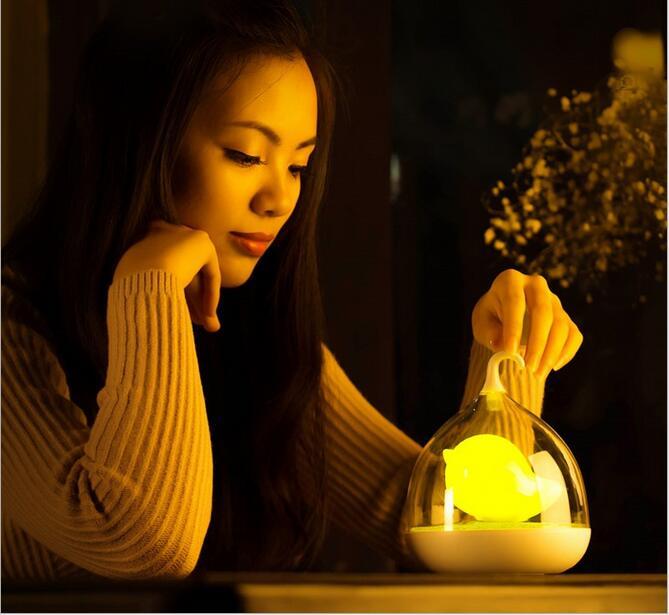 LED клетка Ночная USB Перезаряжаемые ночь светодиодные лампы детская комната вибрации Сенсор диммер ночники luminaria-де-меса