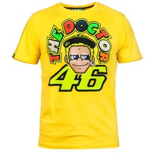 Free shipping 2016 Rossi VR46 46 The Doctor T-shirt Moto GP Sport Sky Racing Team Life Style T Shirt Yellow