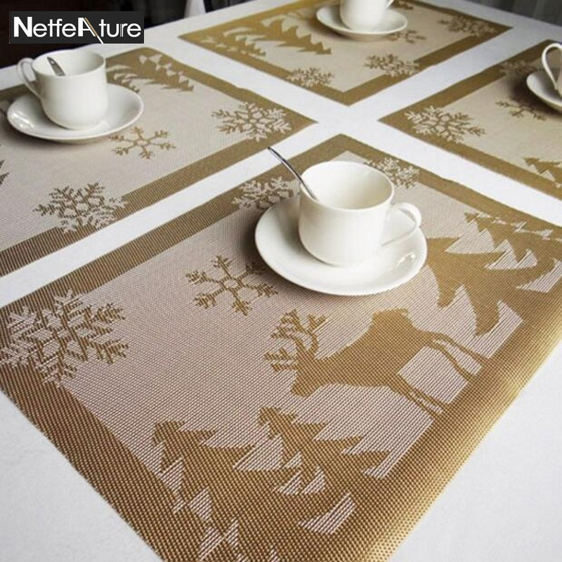 Creative Home Skid Christmas Elk Style PVC Table Placemats Bowls Plate Mat  Insulation Pads Coffee Tea
