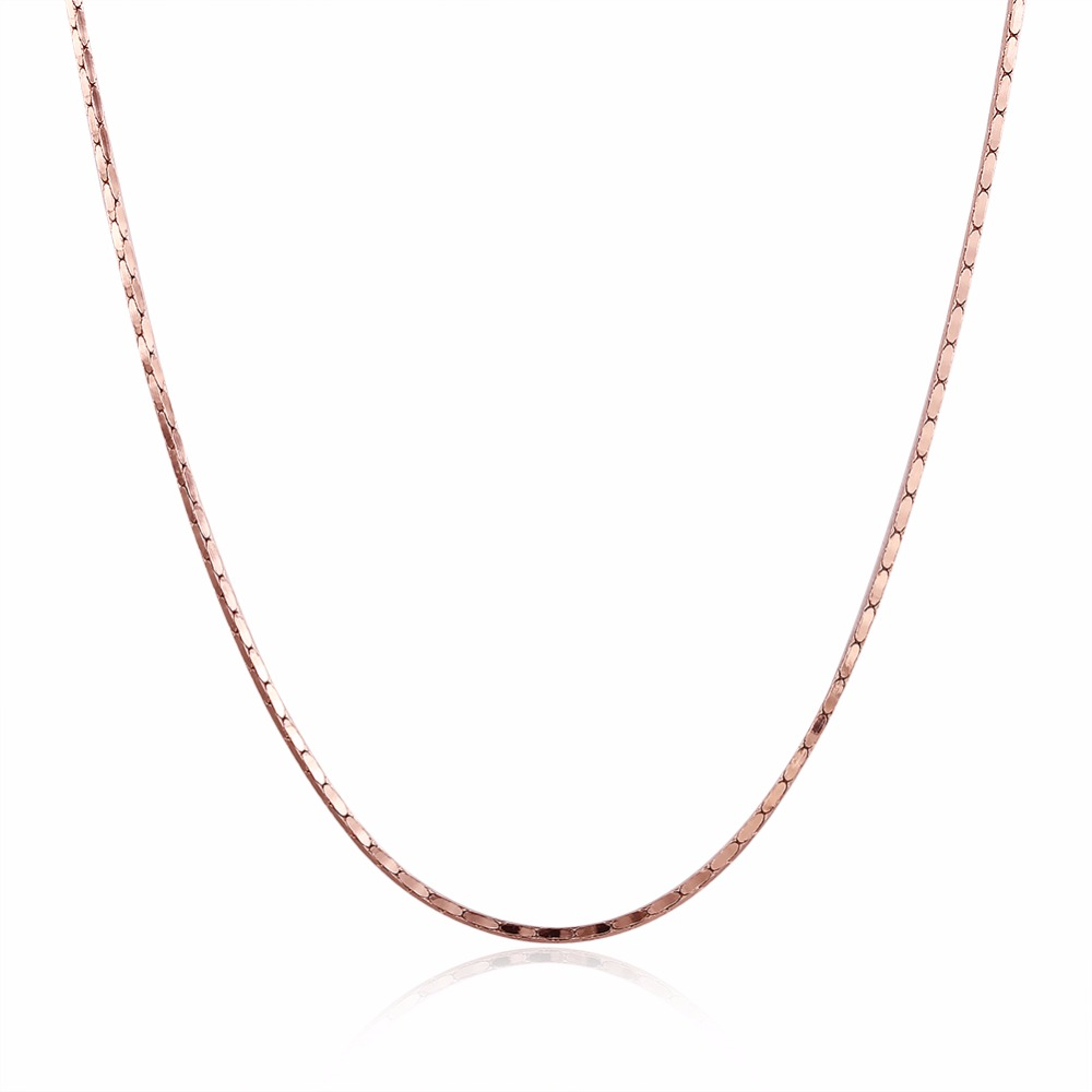 Link Chain Necklace 1mm Silver/Gold/Rose Gold Color Environmental Snake Chain For Women Jewelry Wholesale