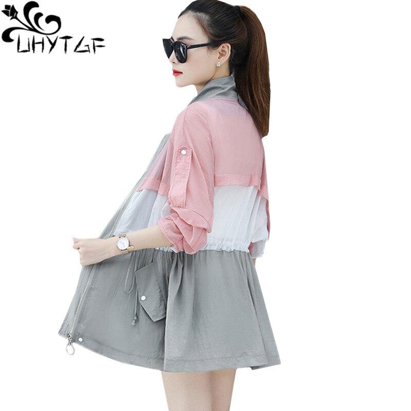UHYTGF Oversized Summer Windbreaker Thin Sun Protection Clothing Elegant Women Coat Fashion Breathable Loose Plus Size Jacket 70