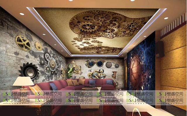 3D Metal Gears Mechanical Engineering Large Scale Murals KTV Hotel Cafe Bar Backdrop Wallpaper