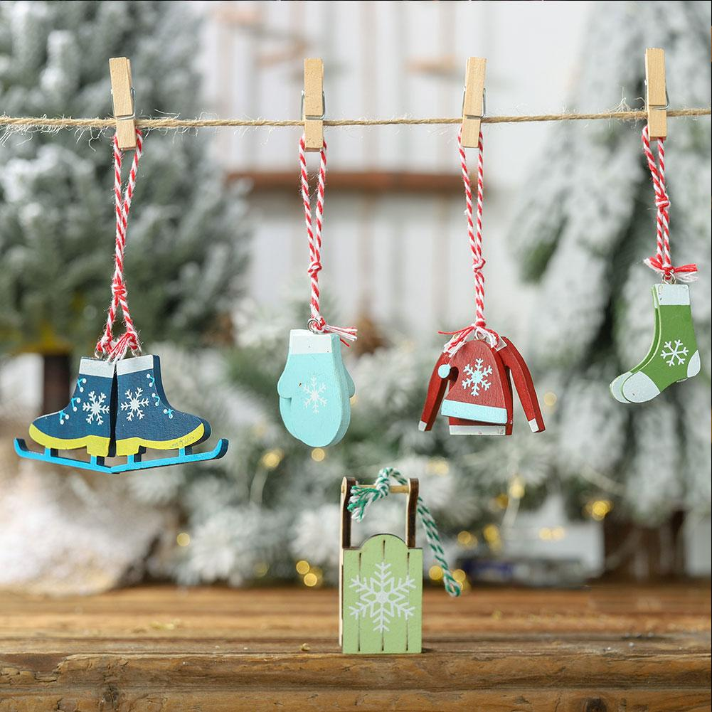 Wooden Christmas Pendant Ornaments Decoration For Home Christmas Tree Party Decoration Mixed Antique Cute Pendants Hanging in Pendant Drop Ornaments from Home Garden