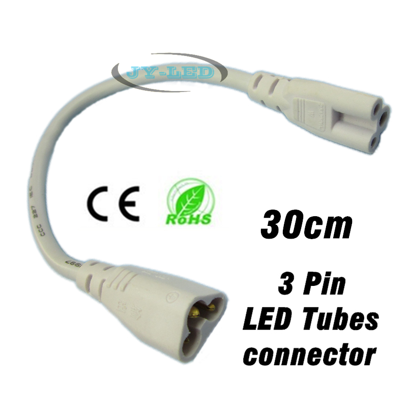 Fluorescent Lamp Connector Cable Corner Line, Male Female <font><b>Plug</b></font> tri-core 3 Pin 30cm For T5 <font><b>T8</b></font> LED Tube Extend Connecting image