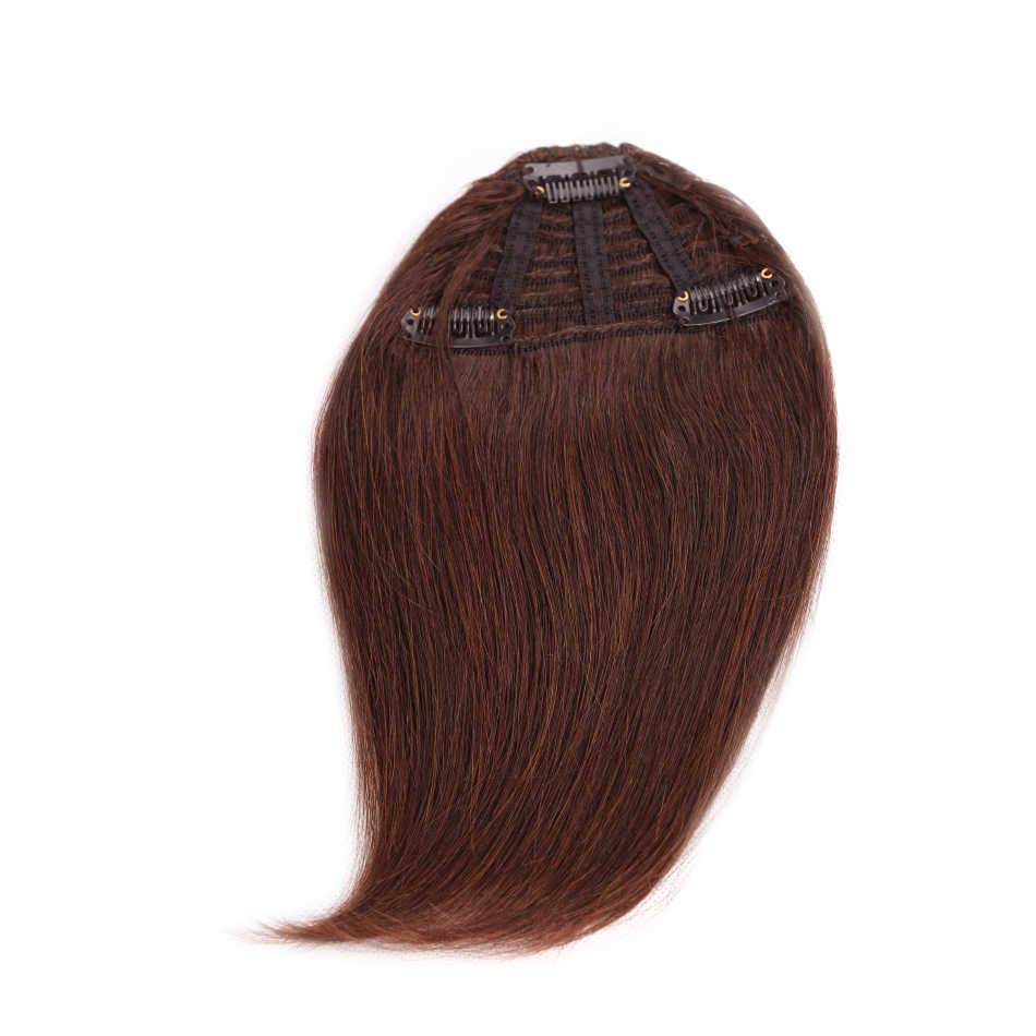 Pelo humano de la belleza de ALI Clip en extensiones de cabello hecho a máquina Remy pelo flecos gradiente flequillo Hairpiece 10 colores puede ser teñido