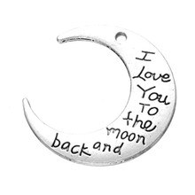 JINSE Moon Charms Antique Silver I Love You To The Moon And Back Charm Pendant 30*9.3mm 200pcs цена