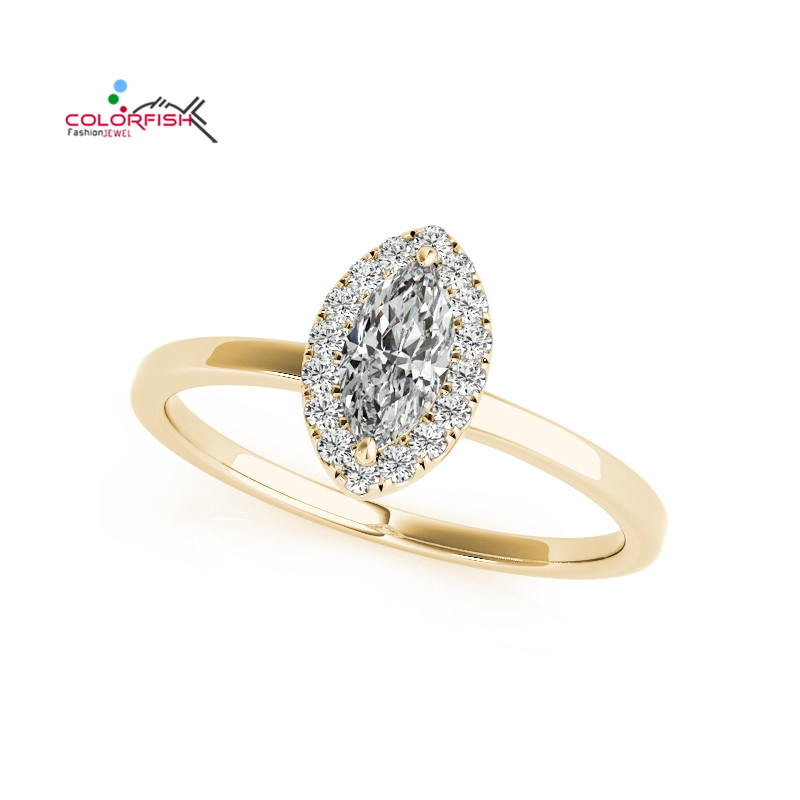 COLORFISH Fashion Marquise Cut 1 CT Engagement Ring For Women Halo Style Rose Yellow Gold Color Sterling Silver 925 Wedding Ring punk style pure color hollow out ring for women