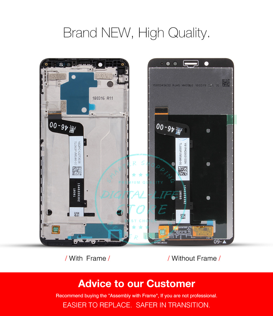 Xiaomi Redmi Note 5 Pro LCD Display Touch Screen Original Digitizer  Assembly Replacement Redmi Note5 Snapdragon 636 Repair Parts