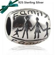 Authentic 925 prata charme Beads para pulseira europeu família feliz DIY mãos fazer VK2242