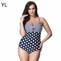 Bikini High Quality Striped Polka Dot Patchwork One Piece Swimsuit Plus Size Swimwear Retro Slimming Bodysuit