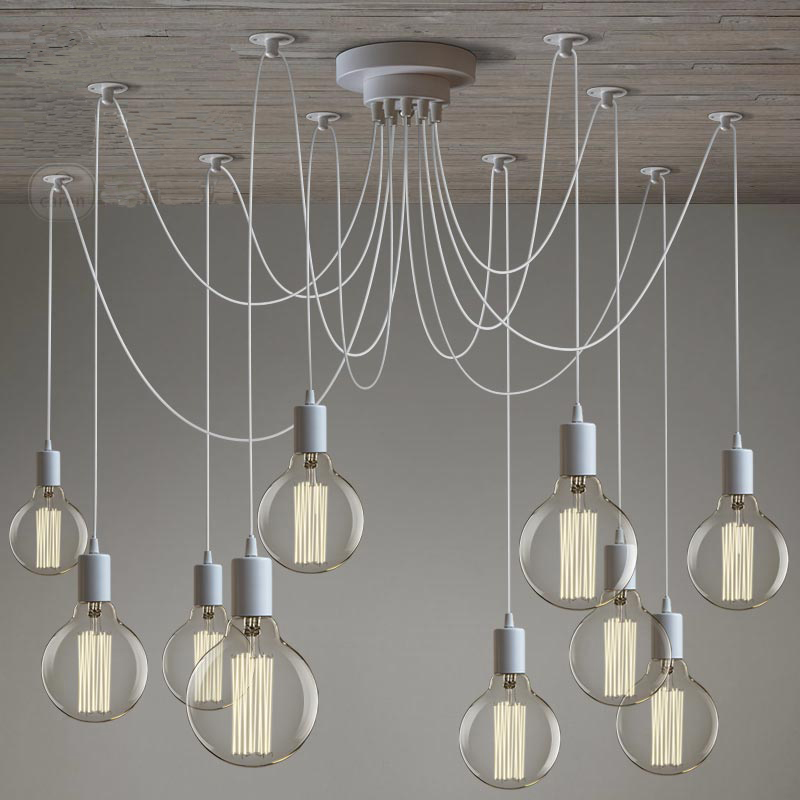 Modern White Ceiling Chandelier 10 Arms Adjustable Hanging