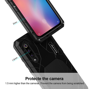 Image 4 - ForXiaomi9 9 T Caso de Telefone Duro Alumínio Metal tampa de Proteção Protetor de Tela De Vidro Temperado Completa Cobertura Pesados