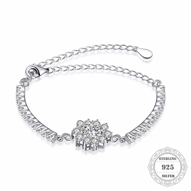 Hemiston 100% 925 Sterling Silver Flower CZ Bridge Charm Bracelets & Bangles, 20CM Fine Jewelry Gift for Women PB050
