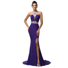 Grace Karin Sexy Side Slit High Neck Backless Long Mermaid Evening Dress 2016 Party Gown Women Crystal Purple Mermaid Gowns 7595