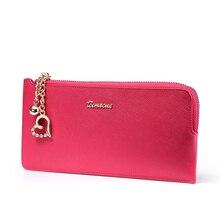 Top European And American Style Simple Fashion Women's  Cowhide Casual Women Handbag Large Capacity Zipper Clutch Bag Rose Q469