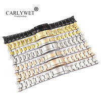 CARLYWET 20 21mm Silver Gold Rose Gold Black 316L Solid Stainless Steel Watch Band Belt Strap Bracelets For GMT Submariner