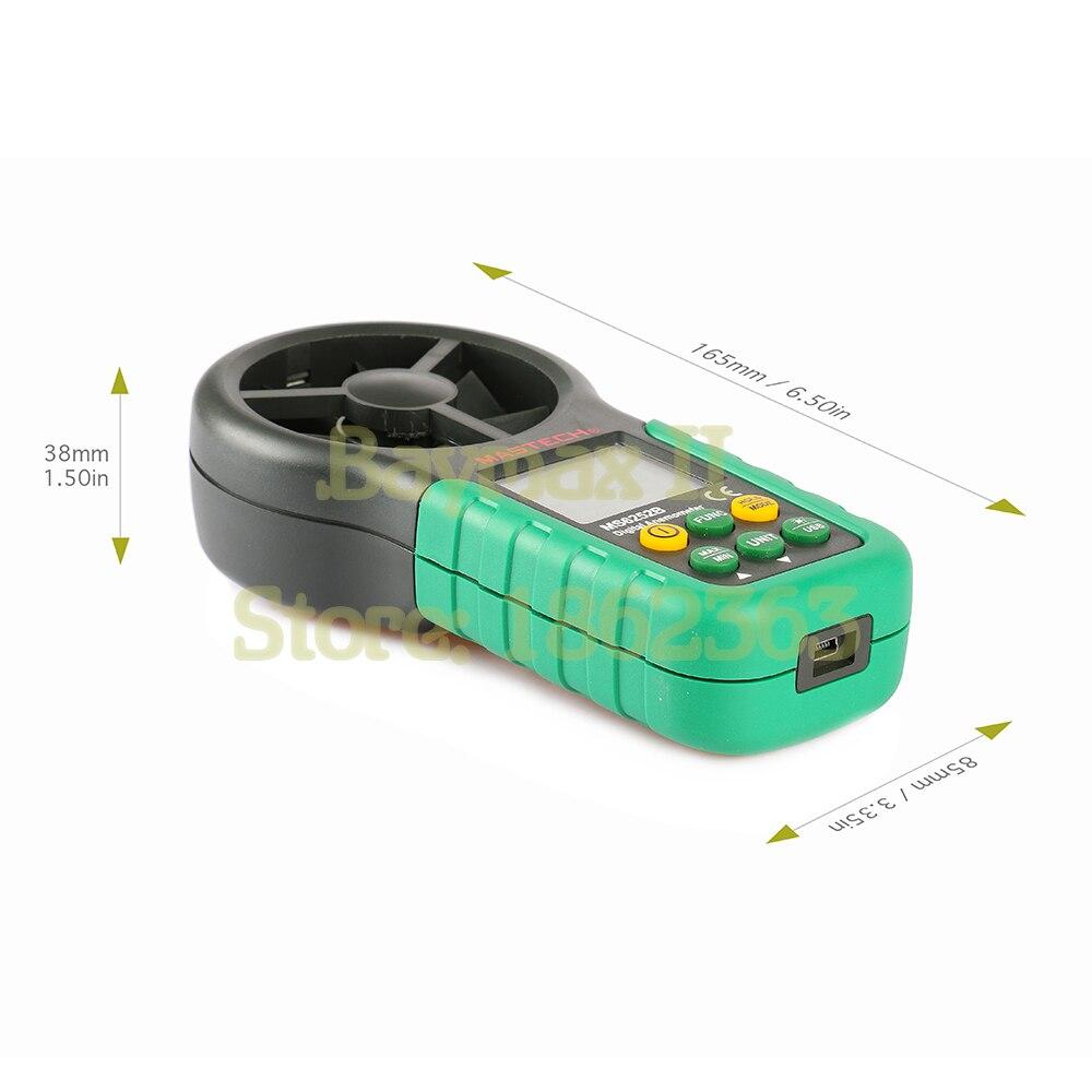 Mastech MS6252B anémomètre numérique LCD électronique vitesse du vent compteur de mesure du Volume d'air avec affichage de la température et de l'humidité - 5