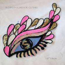 1pc sew on sequins eye Patches for Clothes Embroidery eyes parches Applique Decoration patch