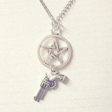 Pentagram Pistol Vintage Pendant Ancient Silver Necklace Supernatural Evil Power