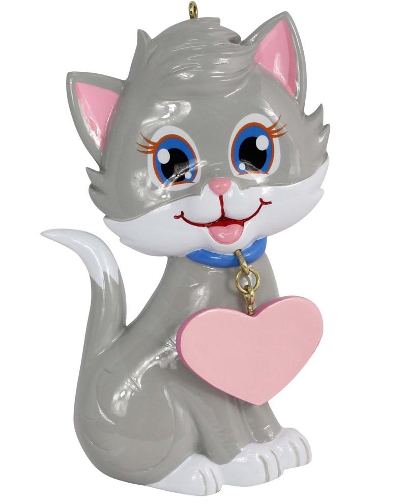 Kitty Cat Resina Adorno navideño brillante con pintado a mano y - Para fiestas y celebraciones - foto 1