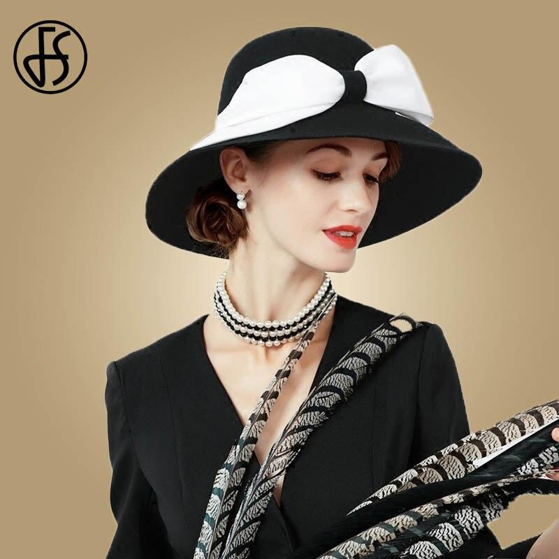 FS Vintage Ladies Wide Large Brim Fedora Hat For Women Black Wool Felt Church Hats Sombreros De Mujer Bow Decoration Winter Cap 1