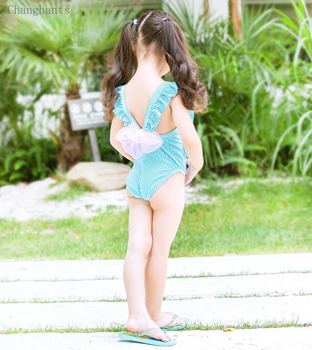 Nowe dziewczęce kostium kąpielowy w paski z falbankami Ramię i - Ubrania sportowe i akcesoria - Zdjęcie 6