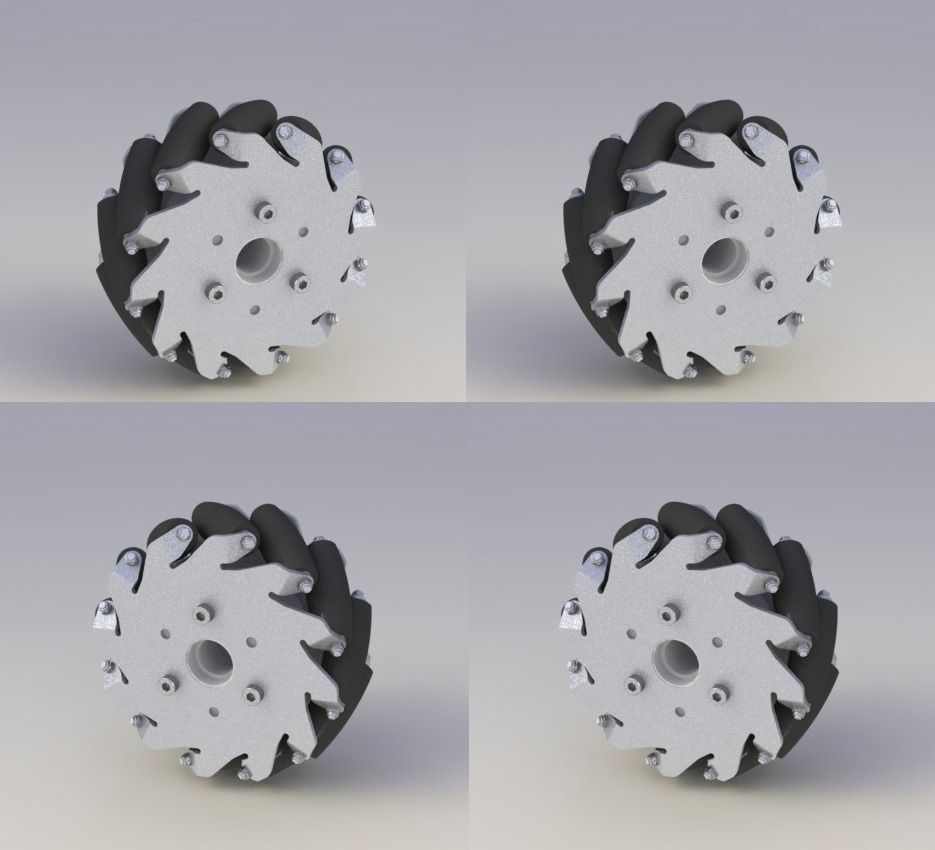 Un jeu de roues Mecanum aluminium 127mm set basique (2 gauche, 2 droite) 14198Un jeu de roues Mecanum aluminium 127mm set basique (2 gauche, 2 droite) 14198