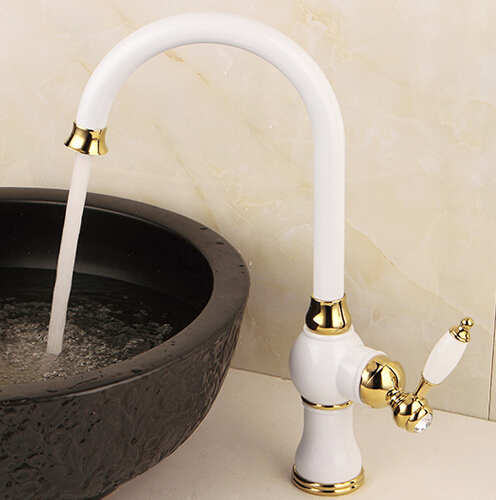 Free Shipping White and Gold Brass Swivel Kitchen Sinks Faucet new arrivals 360 degree rotating Kitchen faucet Water Mixer Tap free shipping brushed nickel kitchen faucet brass swivel kitchen sinks faucet 360 degree rotating kitchen mixer tap gyd 7119