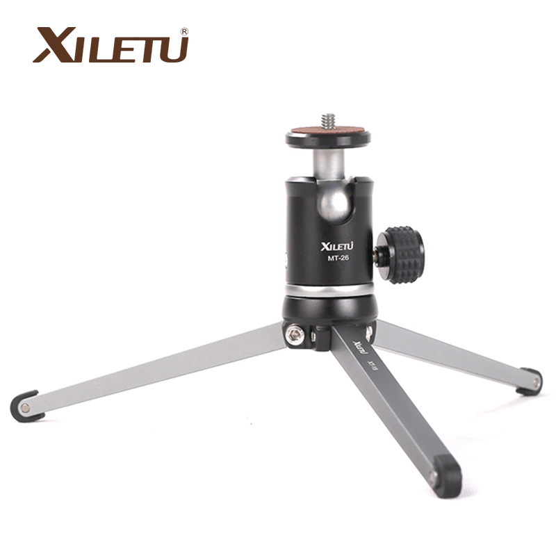 XILETU Aluminum Metal Mini Smartphone Tripod with Ball head,Desktop Table Tripod for iPhone Gopro Nikon Canon DSLR Camera DV bexin lightweight camera tripod aluminum desktop photography compact mini tripod with swivel ball head for canon dslr camera