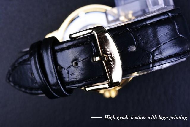 Black Gold Leather Skeleton Mechanical Watch
