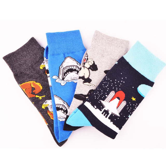New Men Creative Design Crew Socks Astronaut Vulture Plant Chimpanzee Night Pug Animals Long Sokken Calcetines Hombre Divertidos