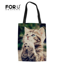 FORUDESIGNS Cute Praying Cat Reusable Large Trolley Women Grocery Shopping Bags Portable Cloth Bag Foldable Tote Handbags Girls(China)