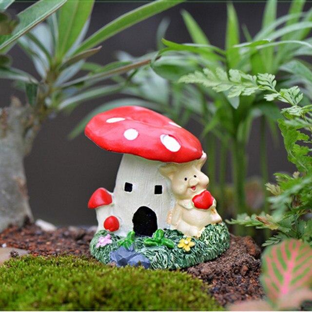 2pcs Figurine House Castle Angle Mushroom House Statue Fairy Garden  Miniature Terrarium Bonsai Jardin Ornament Gnomes Home Decor