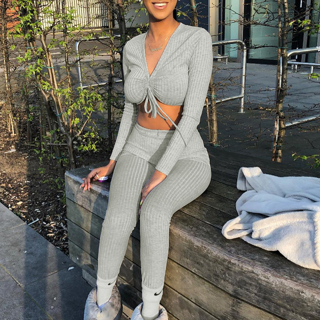 Toplook Womens Two Piece Sets V neck Long Sleeve 2019 Sexy Crop Tops Pants Autumn Feminine Matching Sets Streetwear Tracksuits