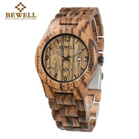 2016 BEWELL Men S Fashion Casual Quartz Watch Men Wooden Strap Quartz Watch Ultra Thin Case