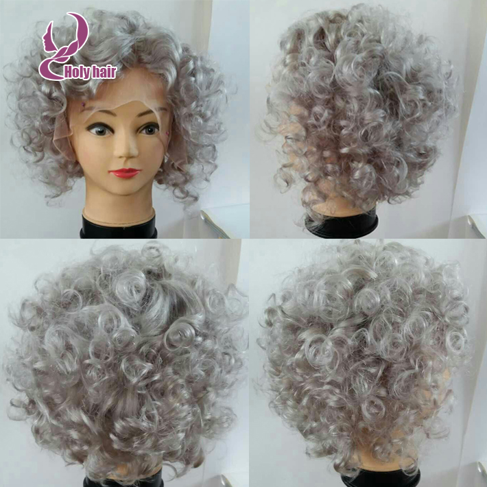 Hotsale Silver Grey Human Hair Wig Short Curly Bob Wigs 8a Brazilian Full Lace Lace