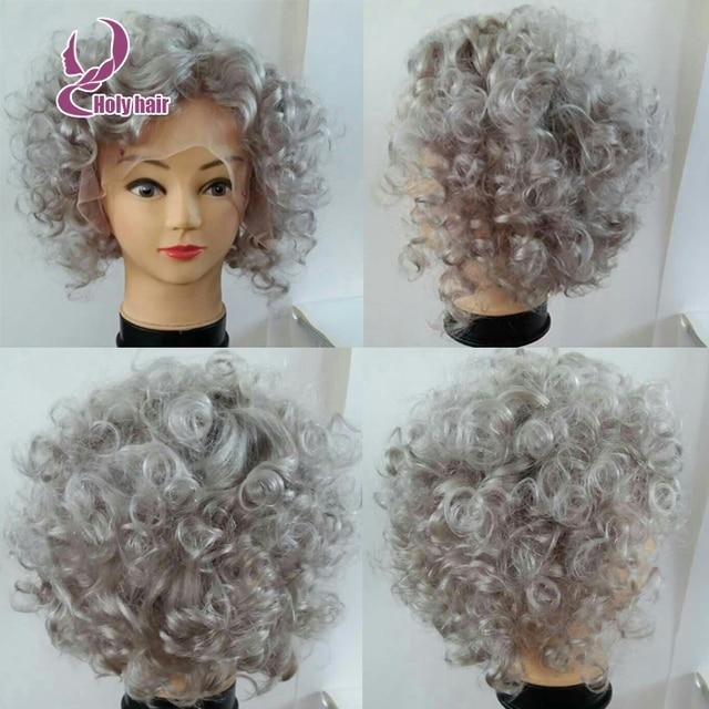 Hotsale Silver Grey Human Hair Wig Short Curly Bob Wigs 8a