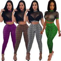 Ver através sexy conjunto de duas peças feminina transparente malha colheita topo e lápis calças terno festa club wear 2 peça roupas