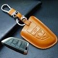 Cuero sin llave remoto llavero Key Holder Case para BMW X5 2014 X 6 3 y 4 botones bolso dominante tapa del teclado carteras accesorios