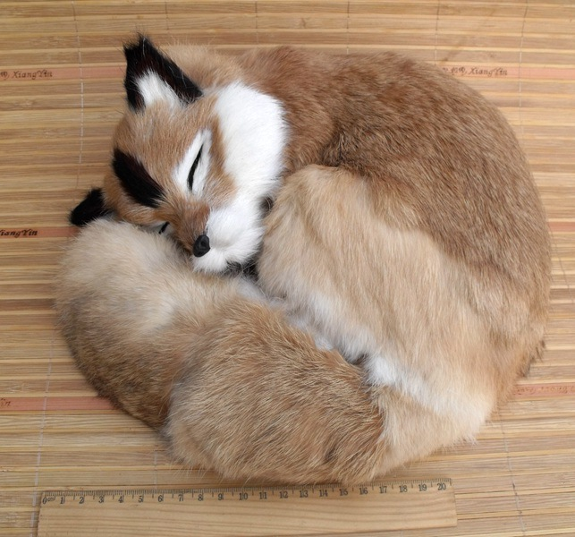 big simulation fox toy polyethylene furs natural colour sleeping fox doll gift 27x12cm 2062