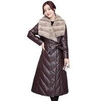 2018 эксклюзивная модная Женская дубленка женская утепленная норковая шерсть длинный пуховик женская теплая зимняя кожаная куртка Большие р