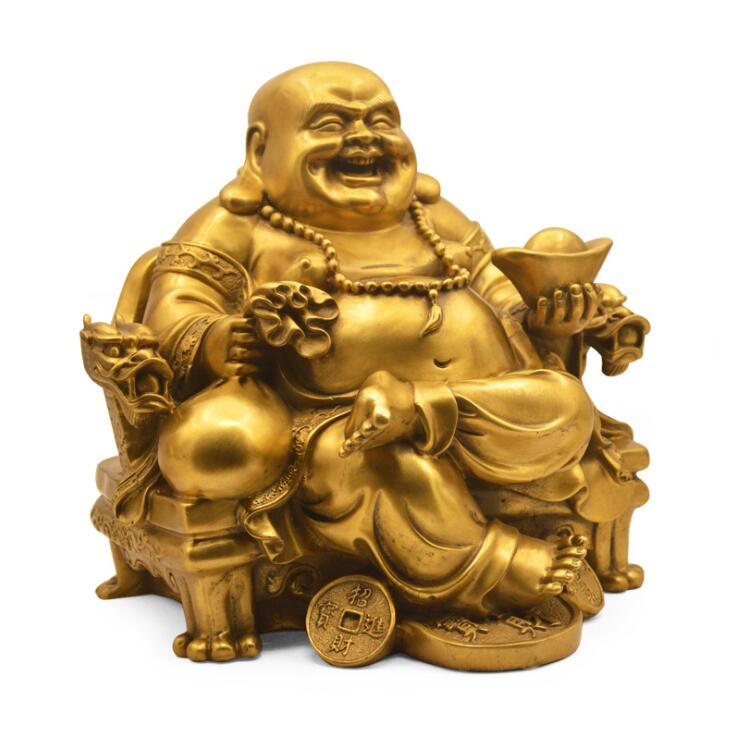 Buddhist supplies 14cm Copper Maitreya 1.23kg Feng Shui Holy Ornament bring Wealth Fortune Office Home Decor Lucky Gifts SM31
