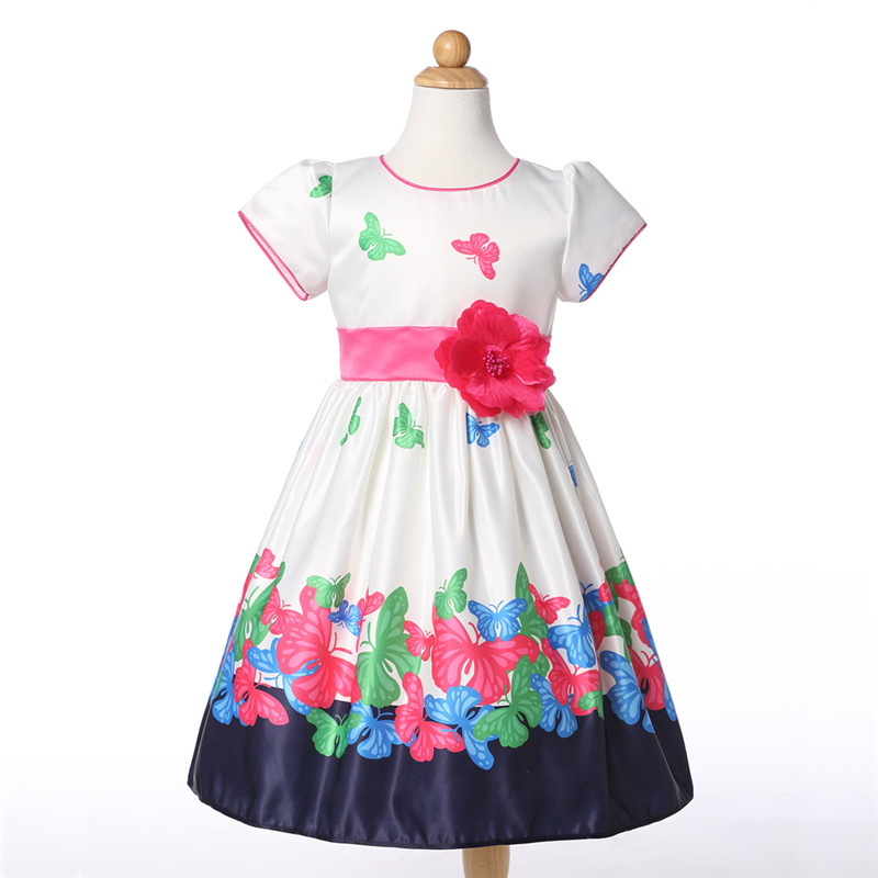 2018 new Children's baby girls dress brand summer style floral printing Sleeveless cotton princess Girls Flowers dress 2-8 y tutudress 2018 new brand summer style